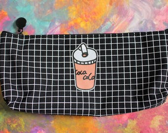 Cola-Cola Fast Food Canvas Pencil Case (Black and White Grid)