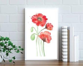 Watercolor Flowers print, Kid room, Flower poster, Flower illustration, Flower painting,Watercolor flower print, red flower, Printables