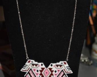 Black/Pink/White ethnic bib necklace pendant