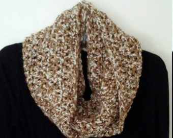 Crocheted  Infinity scarf - tan and white