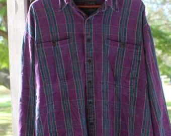 Vintage 90s Chaps Ralph Lauren Purple Plaid Button-Up Shirt
