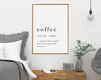 Coffee Print Poster Quote Art Sign Artwork Type Definition Printable Typography Cafe Kitchen Black White Wall Art Home Decor