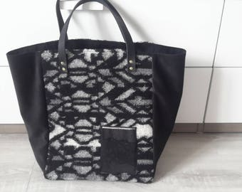 Grey wool and faux Tote