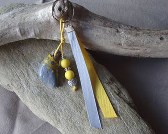 Door keys or bag in Driftwood grey and yellow with small heart charm