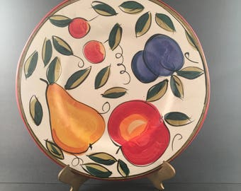 """Ella Fruit by TABLETOPS UNLIMITED 11"""" Dinner Plate Hand Painted"""