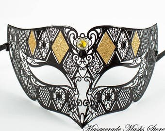 Black & Gold Metal Masquerade Party Mask