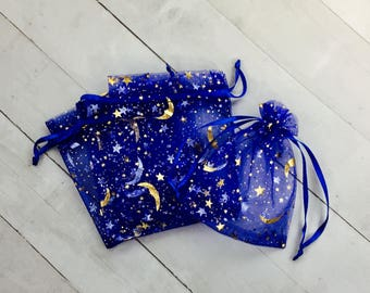 """10 3""""x4"""" Royal Blue Organza Drawstring Bags with Stars and Moons, Jewelry Supply Bags, Baby Boy Favors, Birthday favors, Baby Shower Bag"""