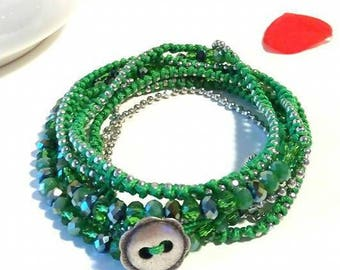 Bracelet formentera type in shades of green/wrap bracelet
