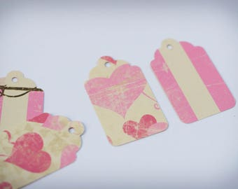 10 labels Tags pink and beige (hearts or stripes)