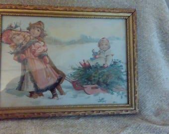 Vintage Print mounted in Antique Frame