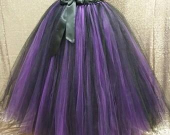 Witch tutu/ Halloween tutu/ Tutu costume/ 2 tone tutu ( sew in lining included)