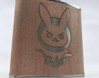 D.VA - Overwatch Inspired 6oz Wood Wrapped Hip Flask! - NERF THIS!!!