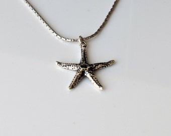 Men Necklace, Men Silver Necklace, Men Pendant Necklace, Starfish Pendant, Men Sterling Silver Chain, Men Choker Necklace, Men's Jewelry
