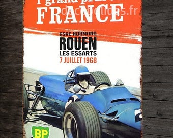 Vintage Grand prix of France, Rouens 1968 metal plate