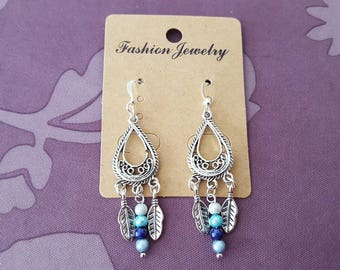 Teardrop Silver earrings, charms, leaves and small blue seed beads