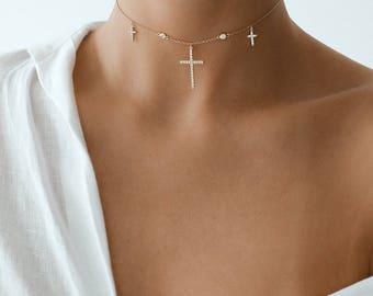 Cross Choker, Gold Choker, Choker, Three Cross Choker, Layering Necklace, Gold Necklace