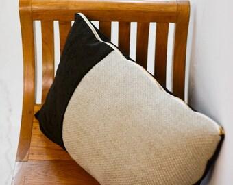 Velvet Divide Lumbar Pillow (Brown)