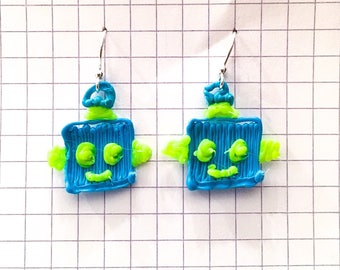 Blue and yellow robot earrings
