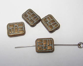 Set of 4 light blue and copper metal beads, 15.00 per 11.00 mm. (9790923)