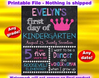Princess Sign, First Day Of School Chalkboard Sign, Back To School Sign, Kindergarten Sign, Printable Chalkboard Sign, Preschool, Pre-K Girl