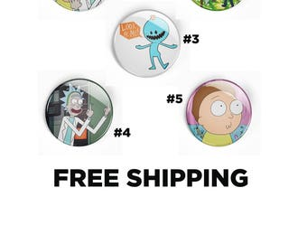 Rick and Morty Inspired Pin Pinback Button Badge