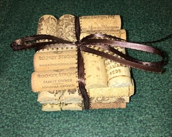 Handmade square cork drink coasters- set of 4