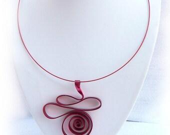 Red aluminum wire pendant necklace