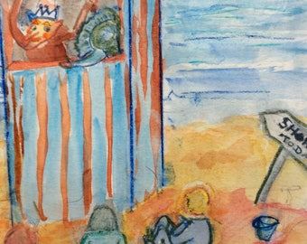 Watercolour painting Punch and Judy