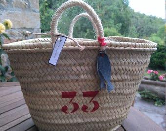 Beach bag/basket 33 red and denim fish