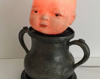 Doll Head Nightlight Lamp 'Leonard' OOAK Creepy Vintage Baby Doll