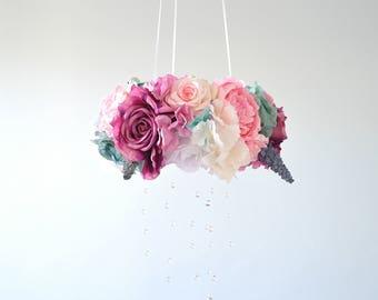 Flower mobile, Floral mobile, Floral Chandelier,Crystal Baby Mobile,bird, Nursery Mobile,Romantic flower,Baby Gift, Wedding chandelier