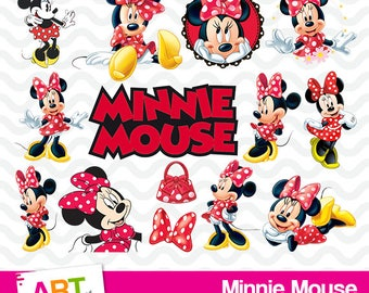 Minnie Mouse Clipart, Disney Clipart, High Resolution Minnie Mouse Image, Minnie Mouse Birthday Party, Printable Minnie PNG Files, art-001