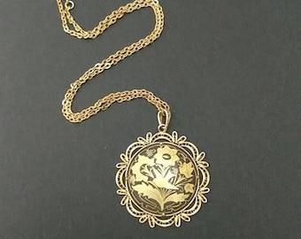 Spanish Damascene Flower and Bird Pendant Necklace