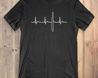 Flute T-Shirt Gift: Flute Heartbeat