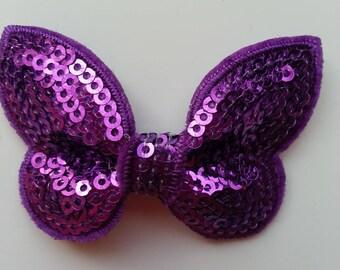 applique noeud pailleté  violet 65*38 mm