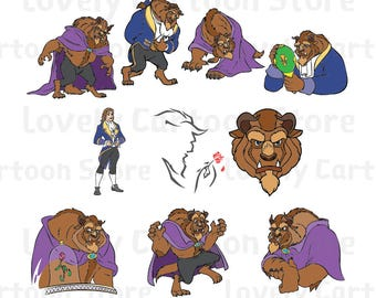 The Beast Svg, Eps, Dxf and Png formats - 10 Postures Clipart  - Digital Download