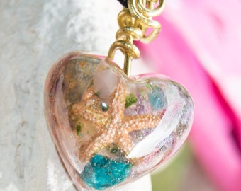 Crystalline Orgone Pendant Necklace with Malachite & Pink Tanzanite - Life Force Generator - Attuned 528hz - Reiki Infused Artisan Jewelry