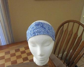 Blue Print Headband with Rhinestones