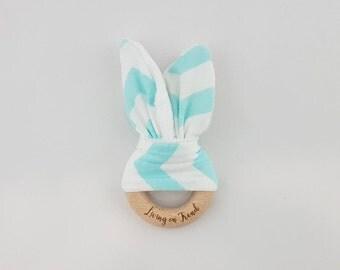 Bunny Ear Teether Mint / White