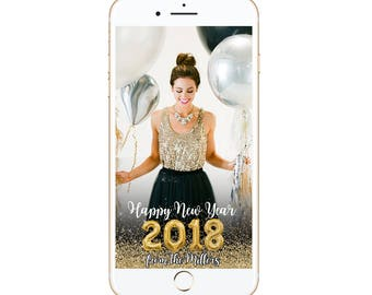 New Year 2018 Snapchat Geofilter happy new year filter happy holidays diy customized custom personalize xmas holiday it's lit gold glitter
