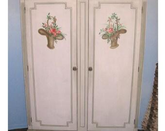 Vintage grey wood cabinet