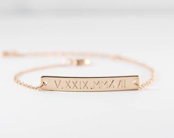 Personalized Roman Numeral Bracelet | Bar Bracelet | Gift for Her | Dates Bracelet | Custom Bracelet | Name Bracelet | Bridesmaid Gift
