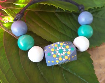Hand Painted Wooden Beaded Bracelet