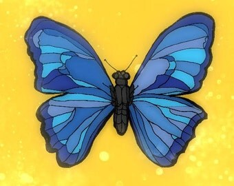 Blue Butterfly on Yellow