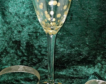 Elegant, Gold, Spotted Champagne Flute, Wine Glass, Polkadot, Wedding, Anniversary, Dinner Party, Gift, Present, Birthday, Graduation