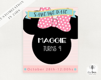 Minnie Mouse Save the Date, customized in 24hs