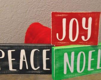 Joy Peace Noel Wood Sign, CHRISTMAS MINI SIGN, Christmas Decor