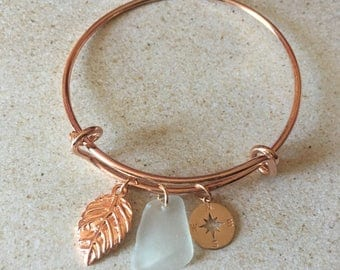Genuine Sea Glass Rose Gold Compass and Leaf Bangle Bracelet