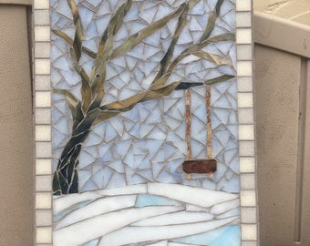 Stained glass mosaic winter setting tree with a swing wall hanging