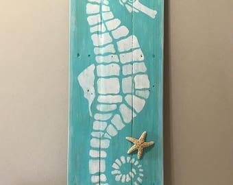 "TALL Seahorse 40""x11.5"" Handmade Wall Art"